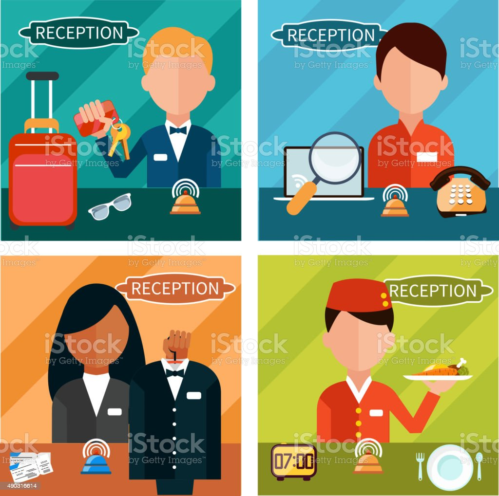 Reception Characters vector art illustration