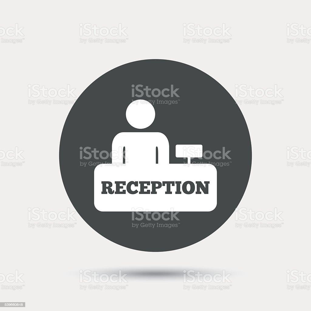 Reception sign icon. Hotel registration table. vector art illustration