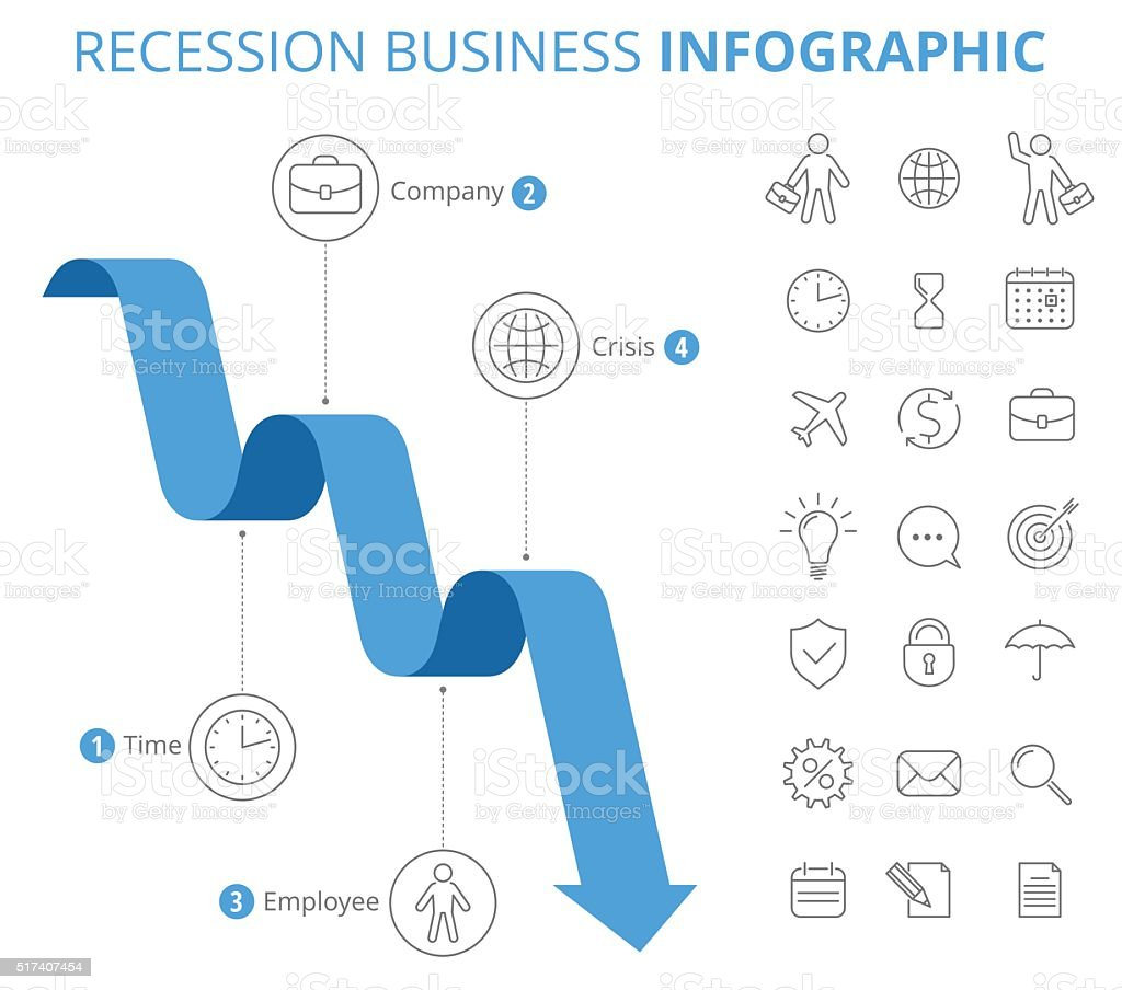 Recession Business Infographic Concept. vector art illustration