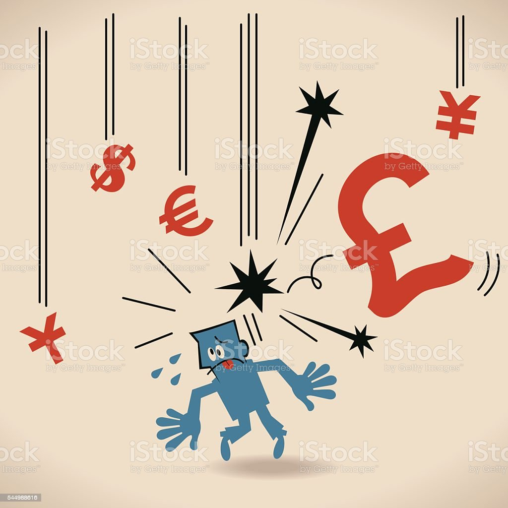 Recession danger falling currency sign hitting investor. (hit fresh low) vector art illustration