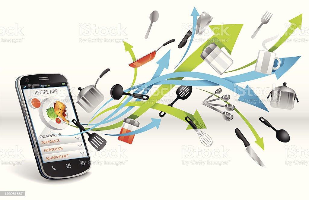 Recipe app on Smartphone royalty-free stock vector art