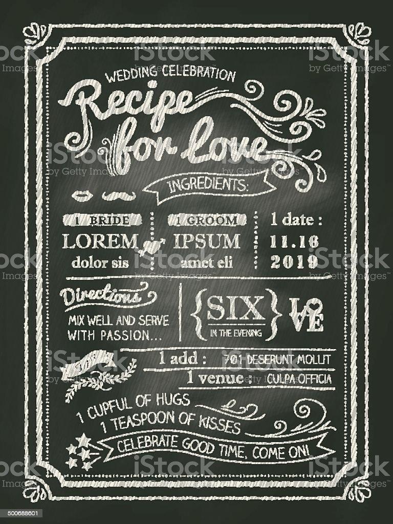 Recipe for love chalkboard Wedding Invitation card vector art illustration