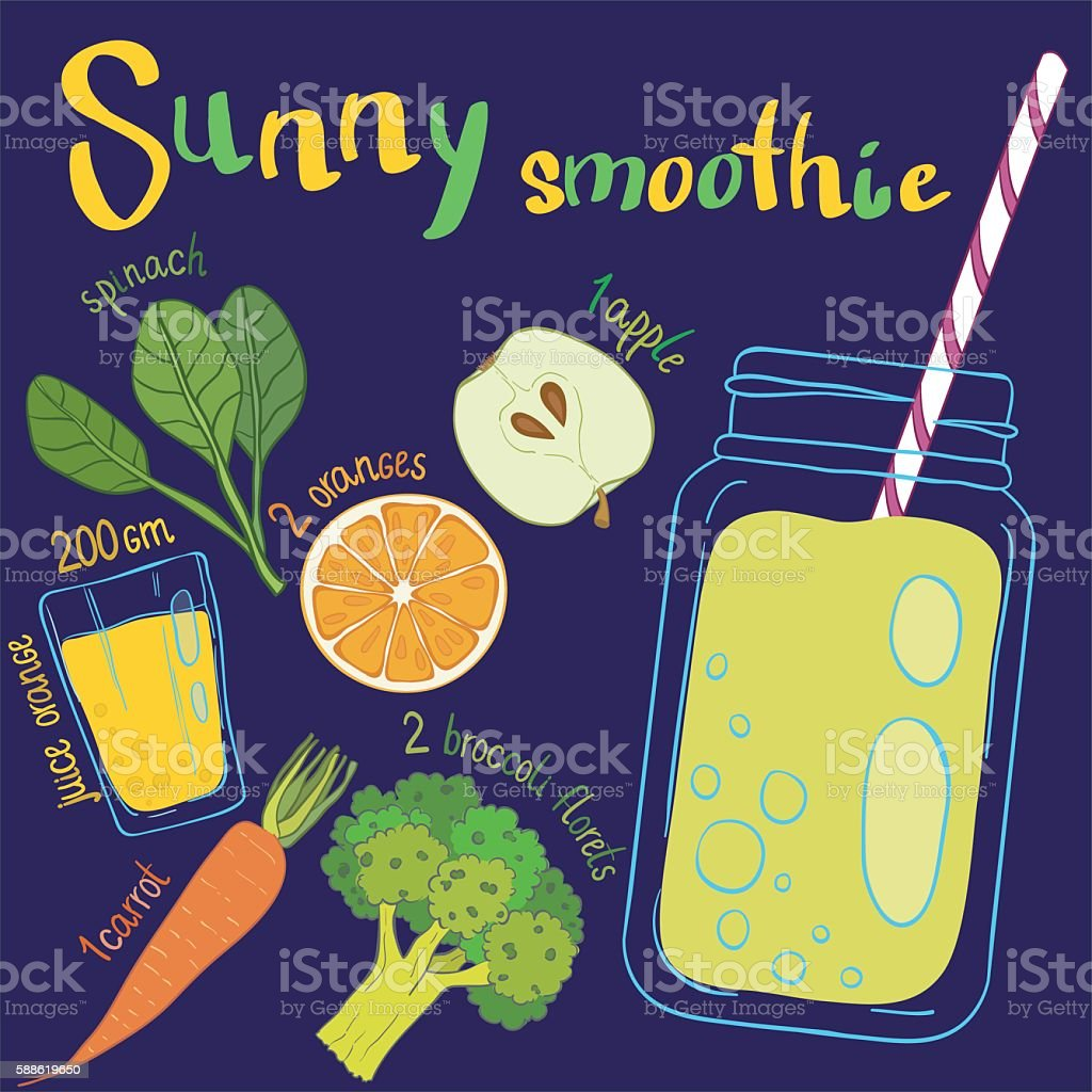 Recipe illustration smoothie (cocktail). Vector hand drawn illus vector art illustration