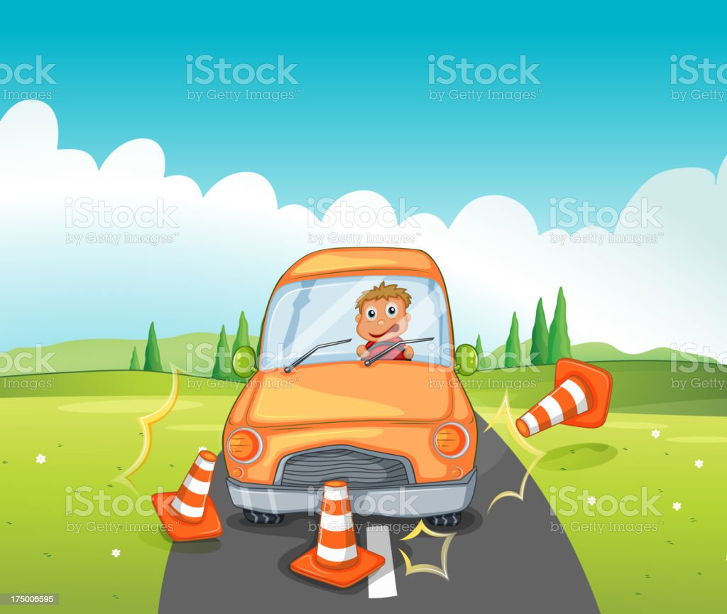 Reckless driver bumping the traffic cones vector art illustration