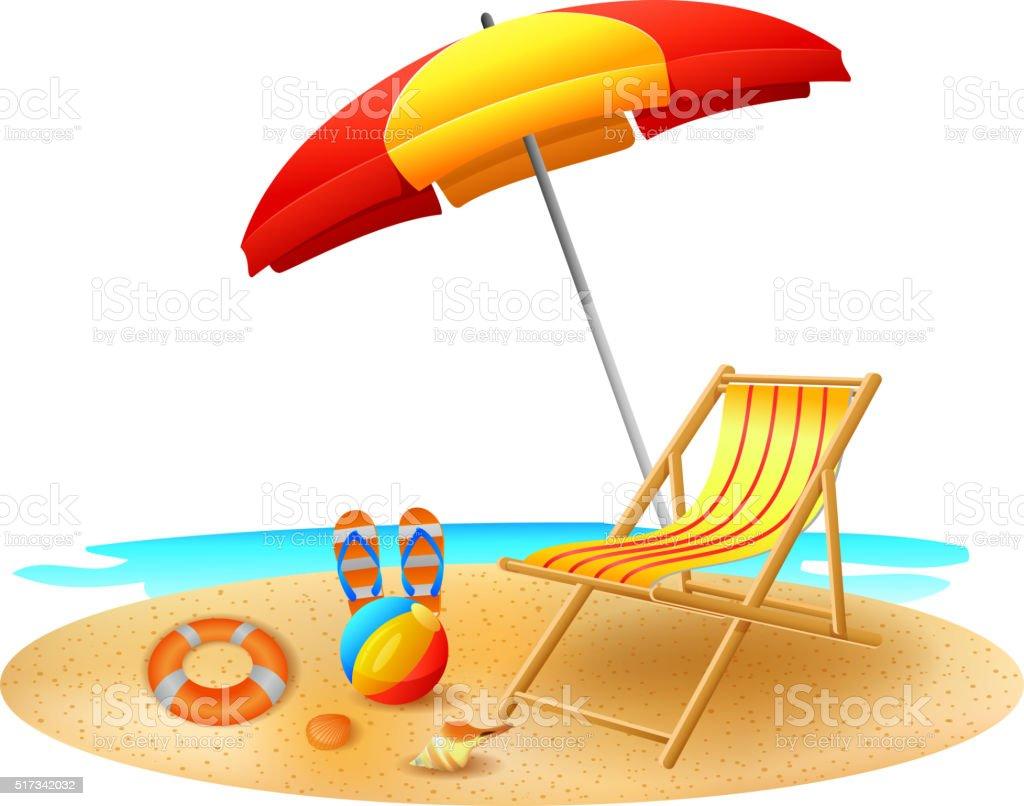 Recliner under garden umbrella in sea beach vector art illustration