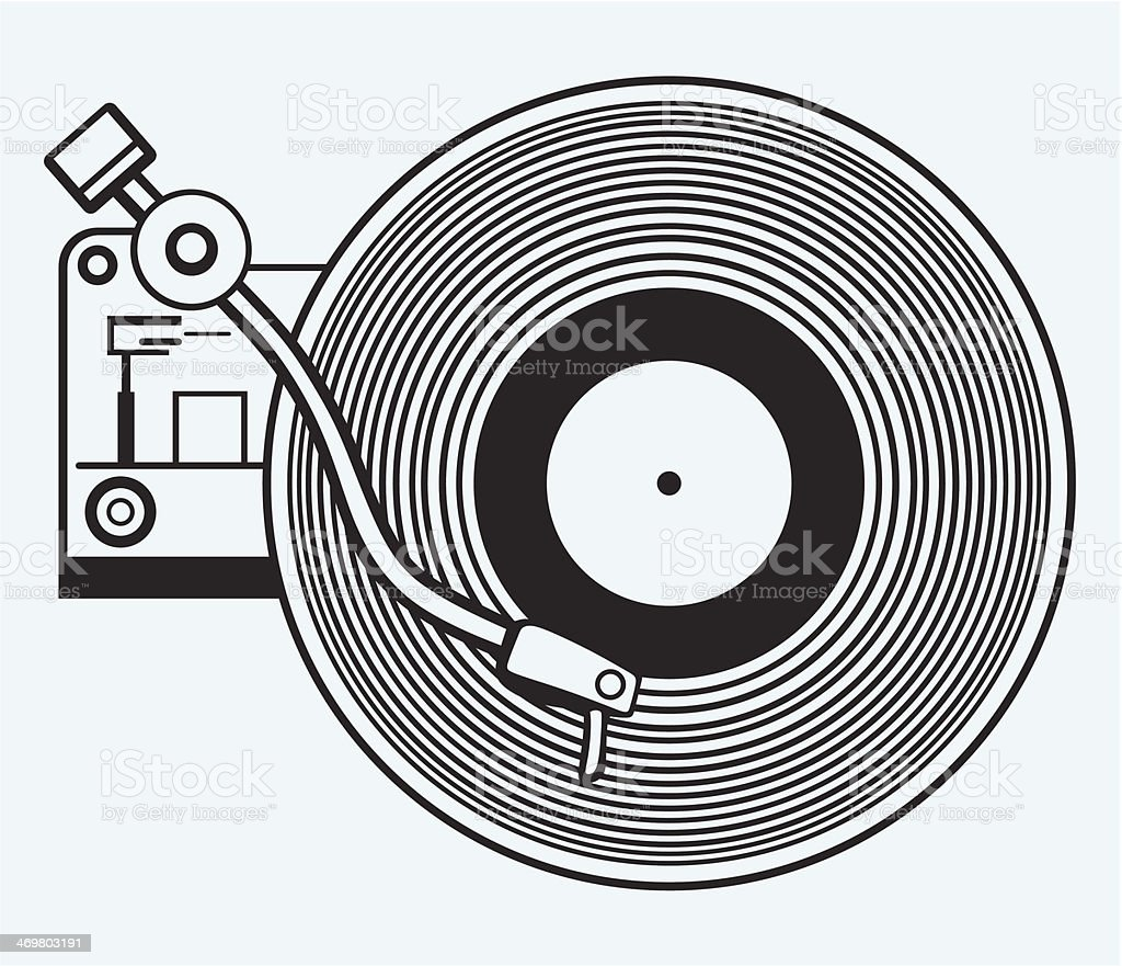 Record player vinyl record royalty-free stock vector art