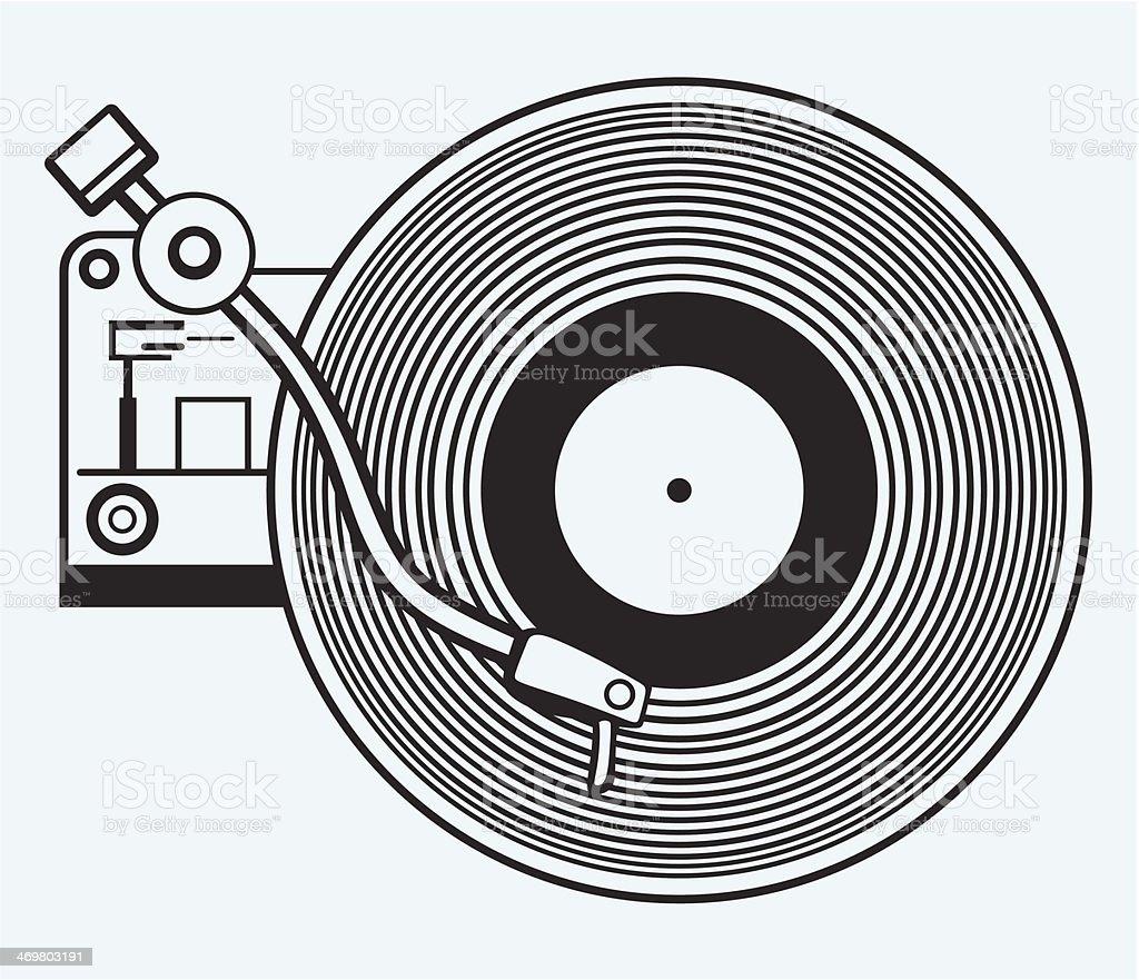 Record player vinyl record vector art illustration