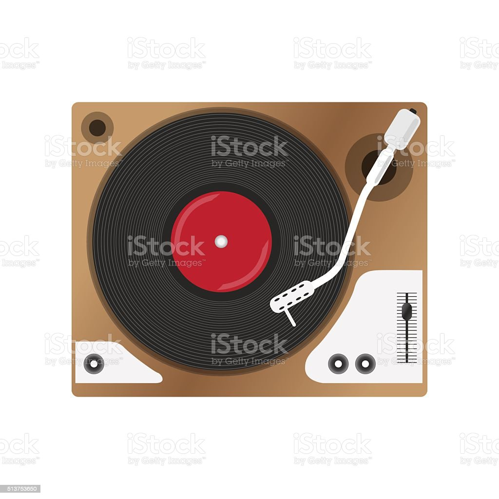 Record player with vinyl record, isolated vector art illustration