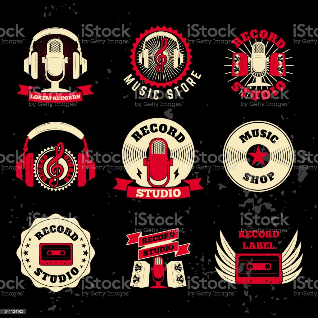 Record studio labels. Old style microphone, headphones, cassette vector art illustration