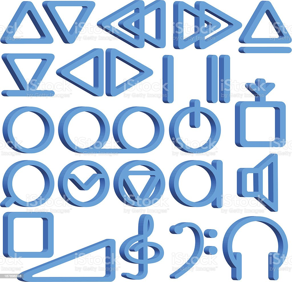 Recorder symbols set royalty-free stock vector art