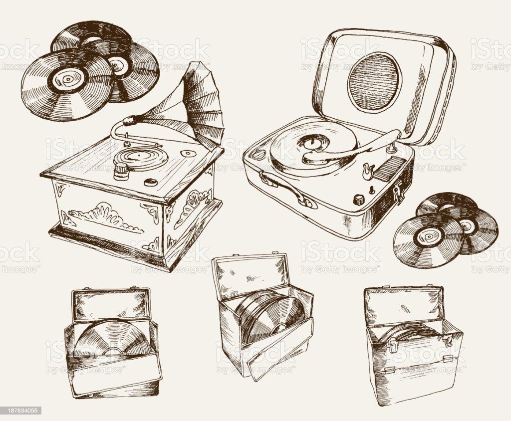 recordplayer vector art illustration