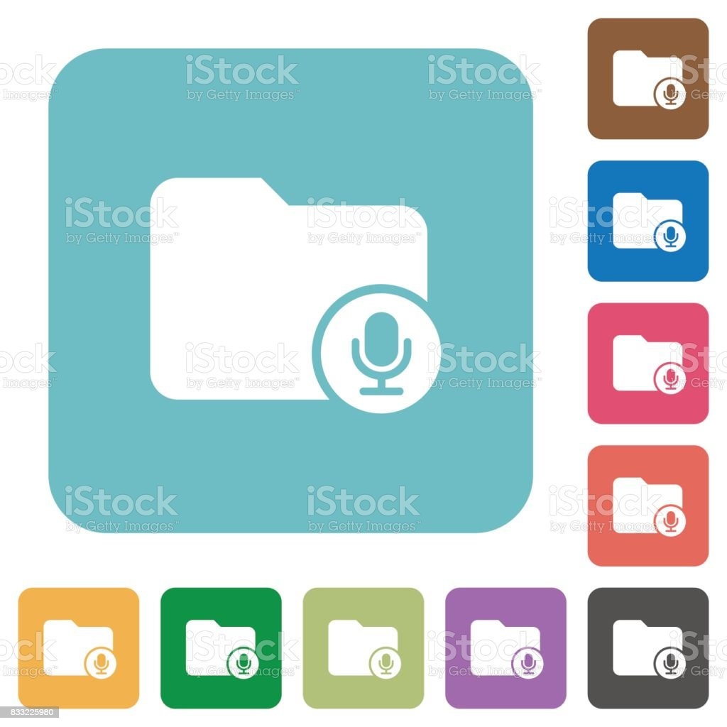 Records directory rounded square flat icons vector art illustration