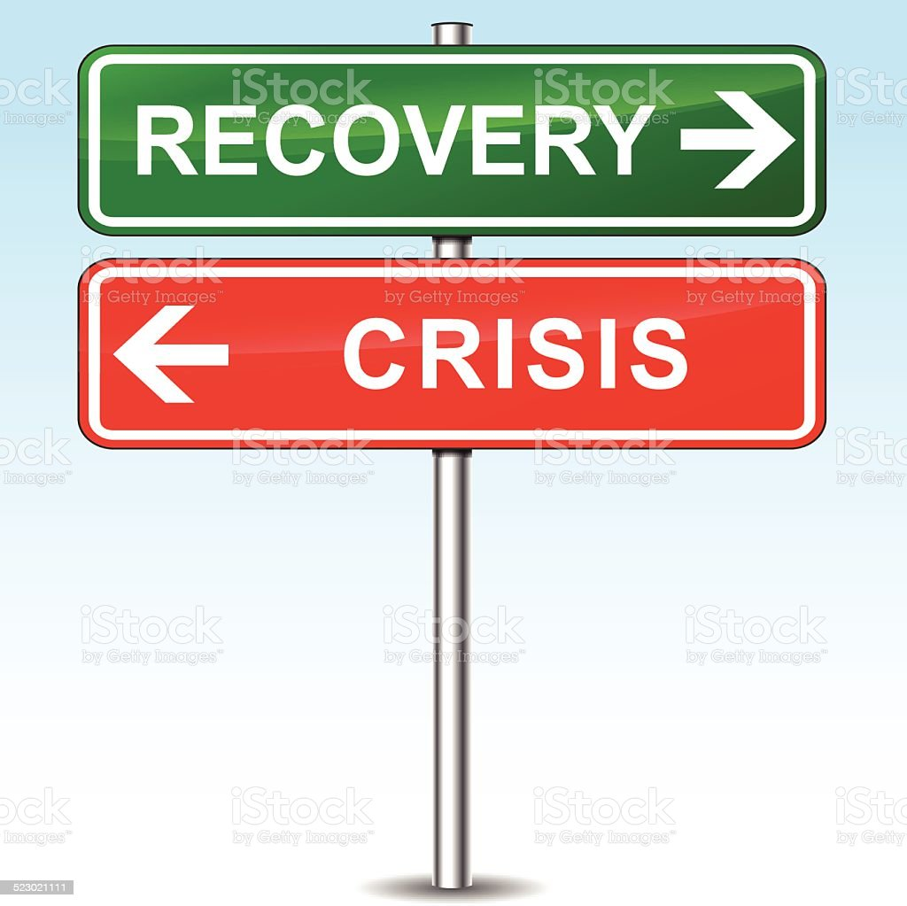 recovery and crisis directional sign vector art illustration