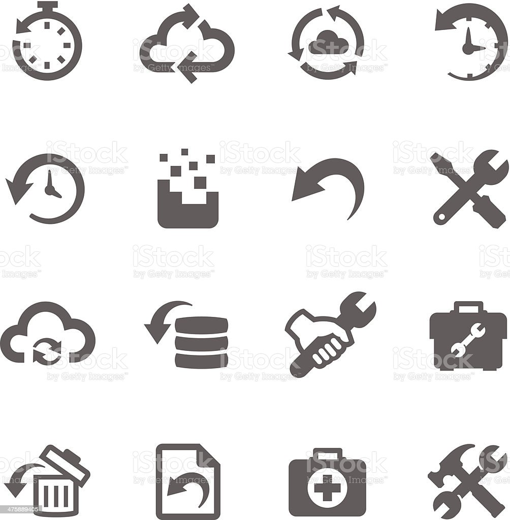 Recovery and repair icons vector art illustration