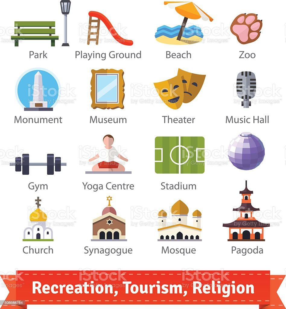 Recreation, tourism, sport and religion buildings vector art illustration
