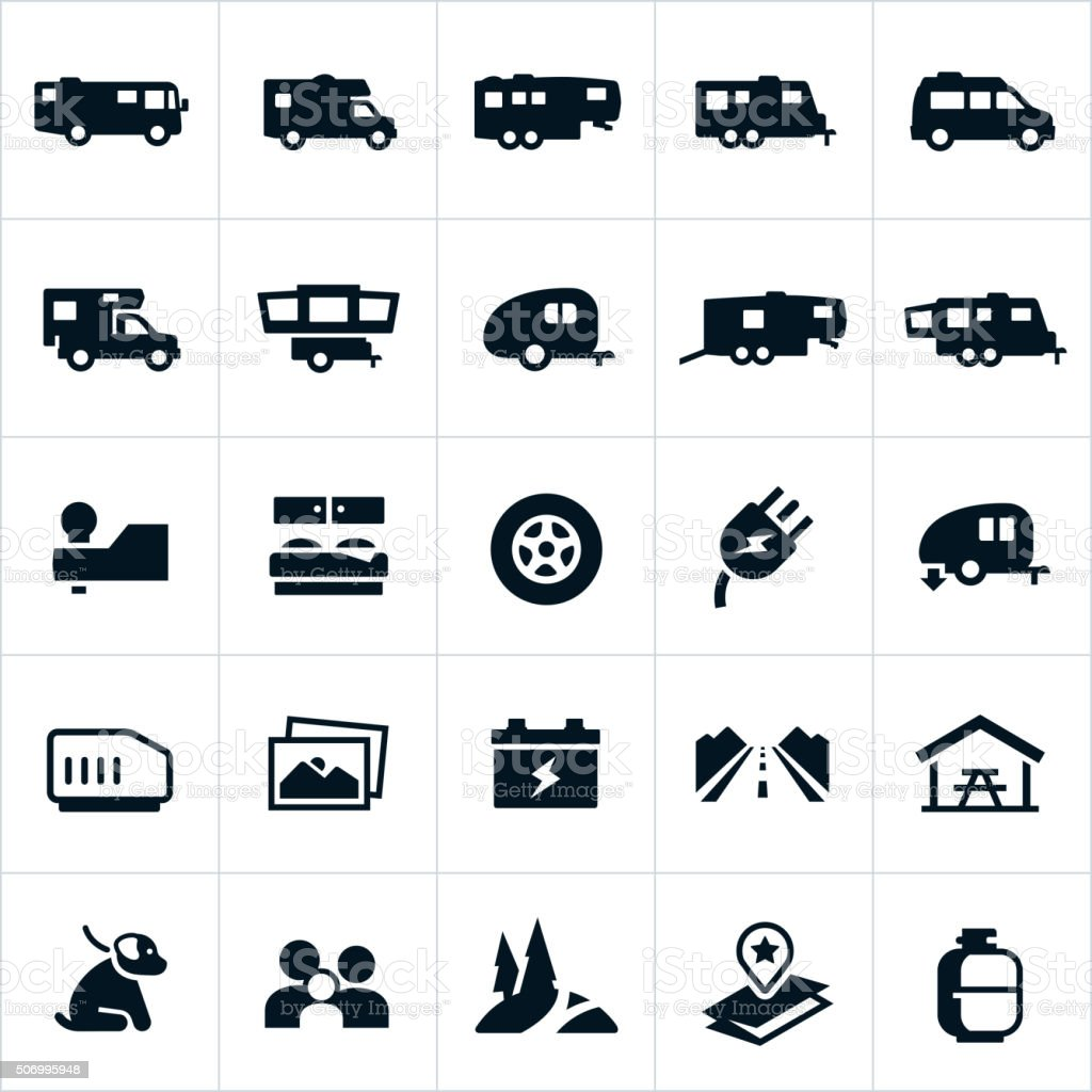 Recreation Vehicle Icons vector art illustration