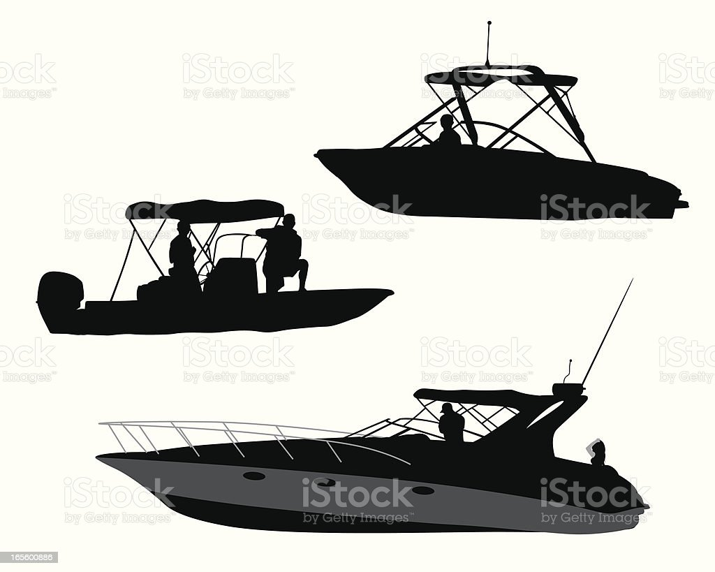 Recreational Boating Vector Silhouette vector art illustration