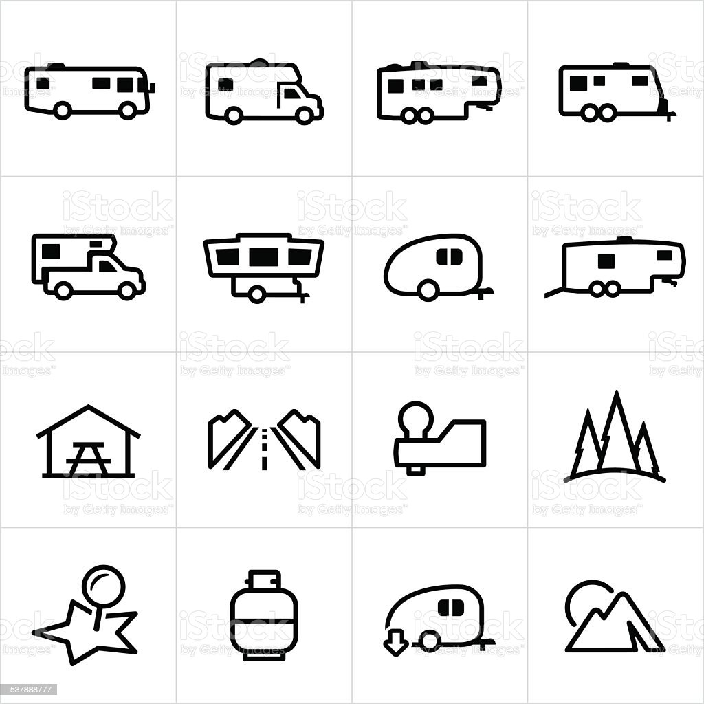 Recreational Vehicle Icons vector art illustration
