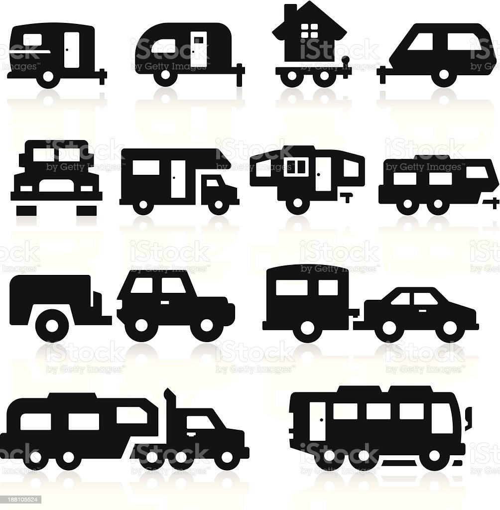 Recreational Vehicles Icons vector art illustration