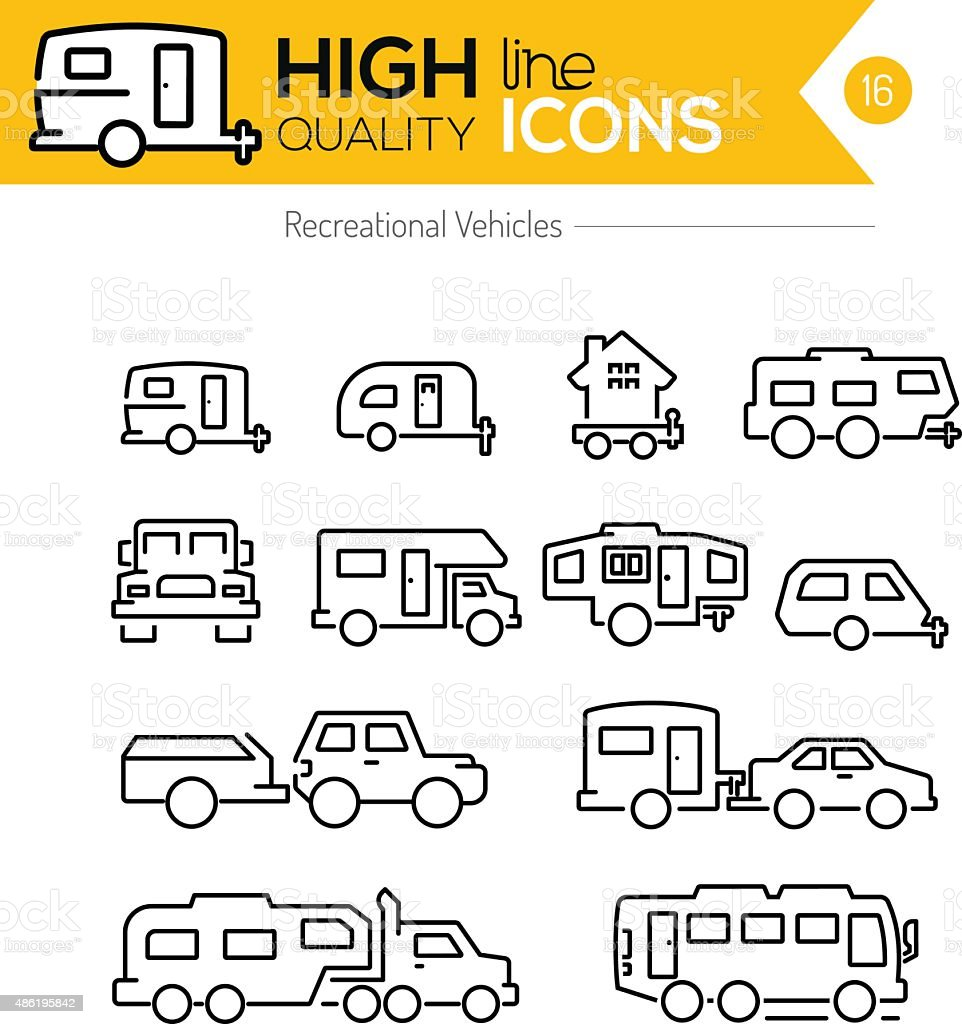 Recreational Vehicles line icons vector art illustration