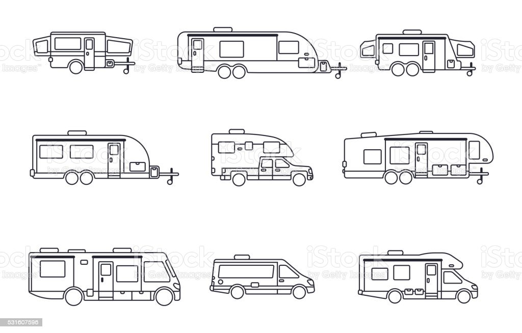 Recreational Vehicles, Motor Homes and Camping Trailers vector art illustration