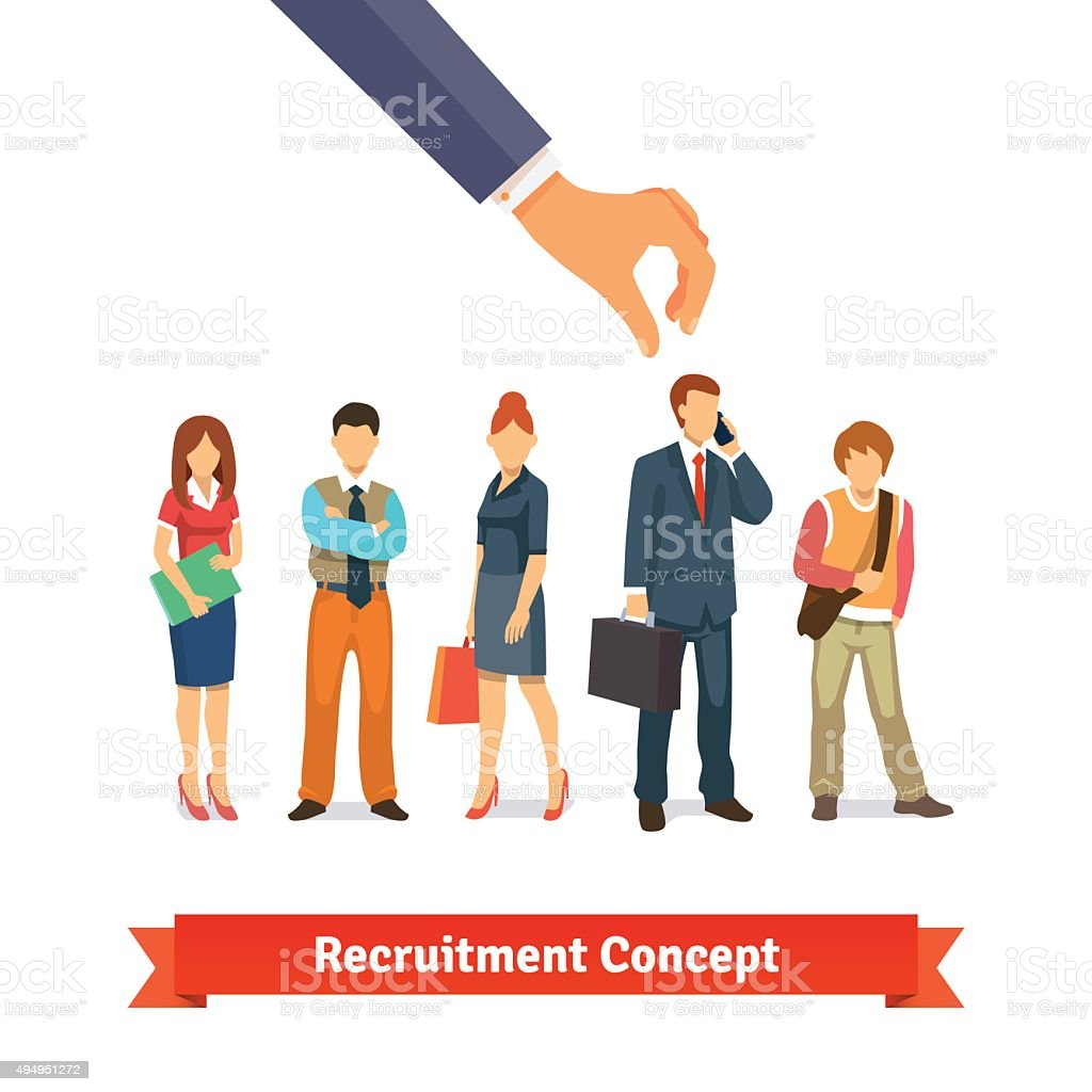Recruitment and human resources concept vector art illustration