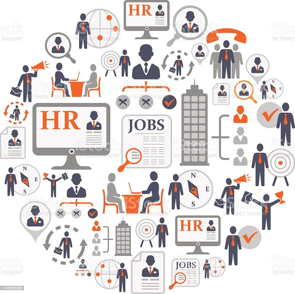 Recruitment and Job Search Collage vector art illustration