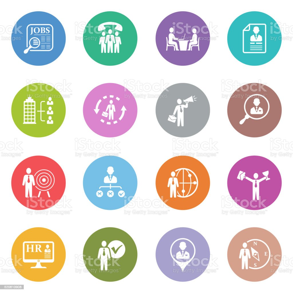 Recruitment and Job Search Icon Set vector art illustration
