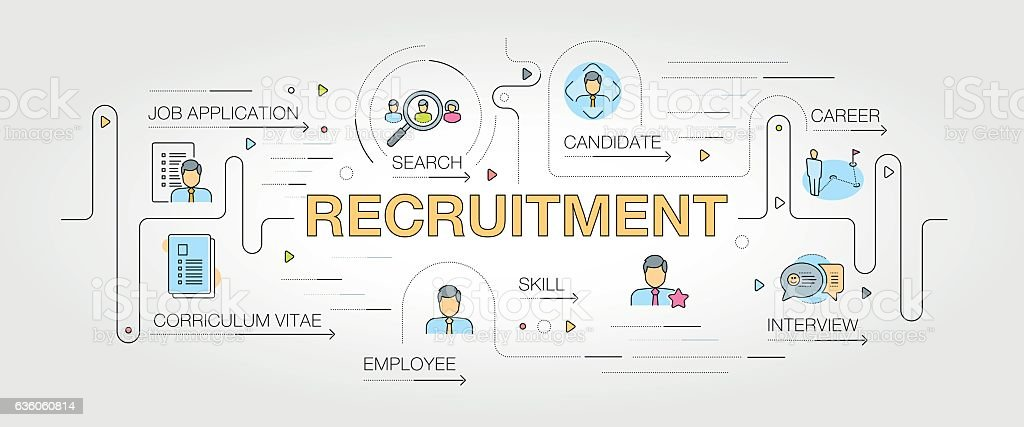 Recruitment banner and icons vector art illustration