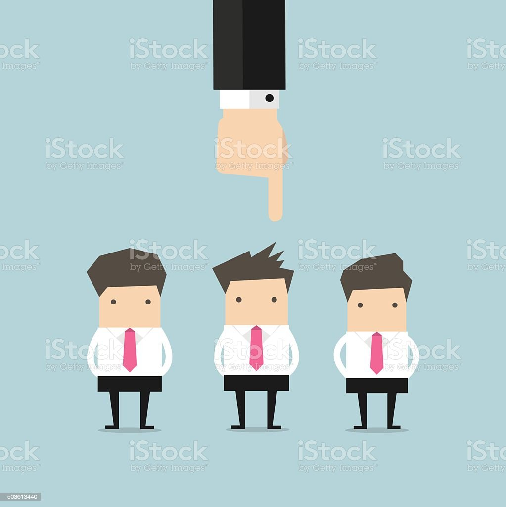 Recruitment concept hand pointing to businessman vector art illustration