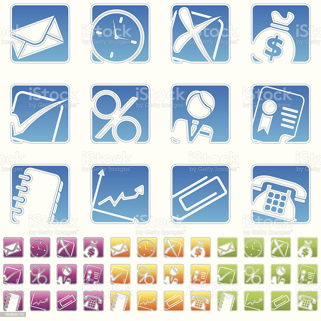 rectangle icons - business royalty-free stock vector art