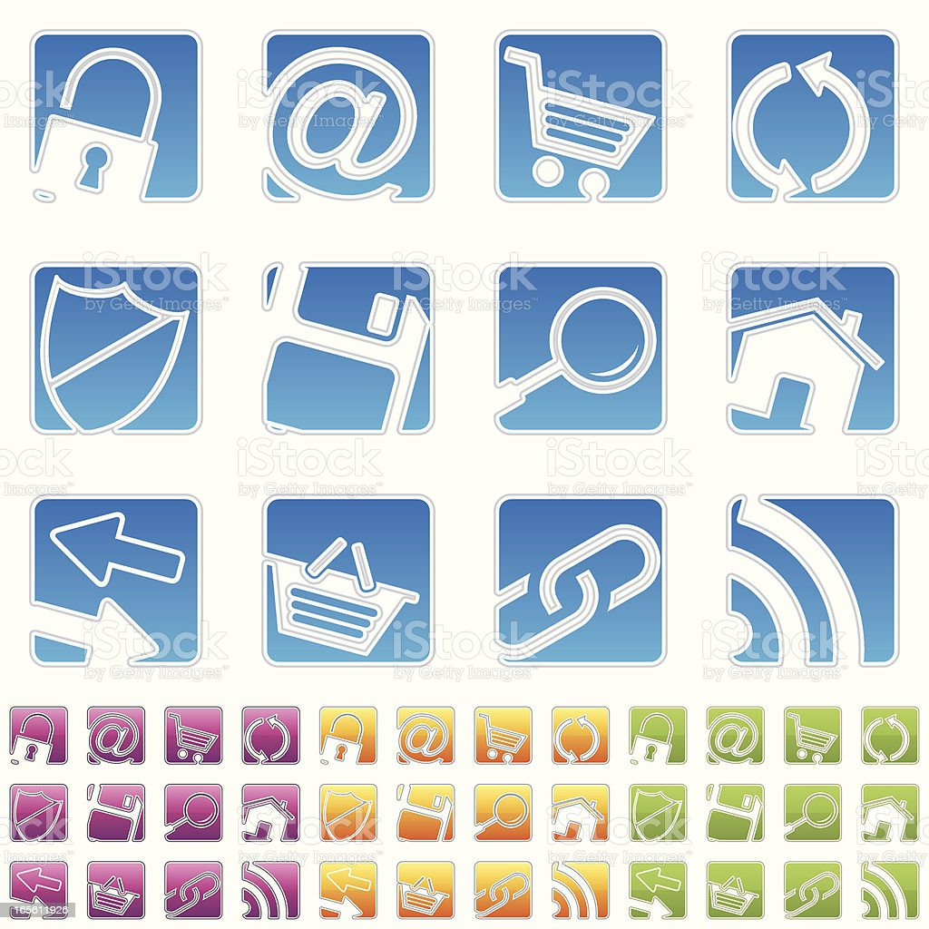 rectangle icons - internet royalty-free stock vector art