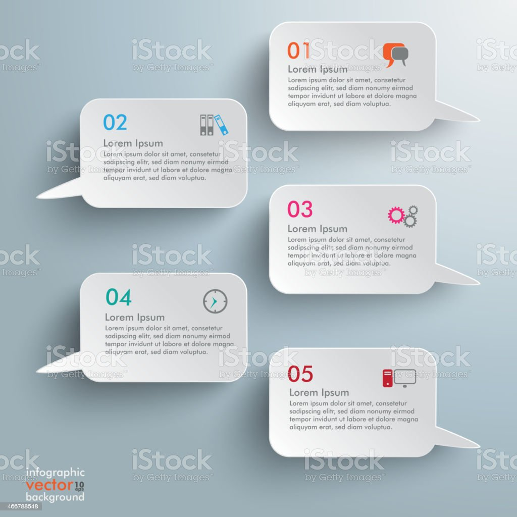 5 Rectangle Speech Bubbles Infographic vector art illustration