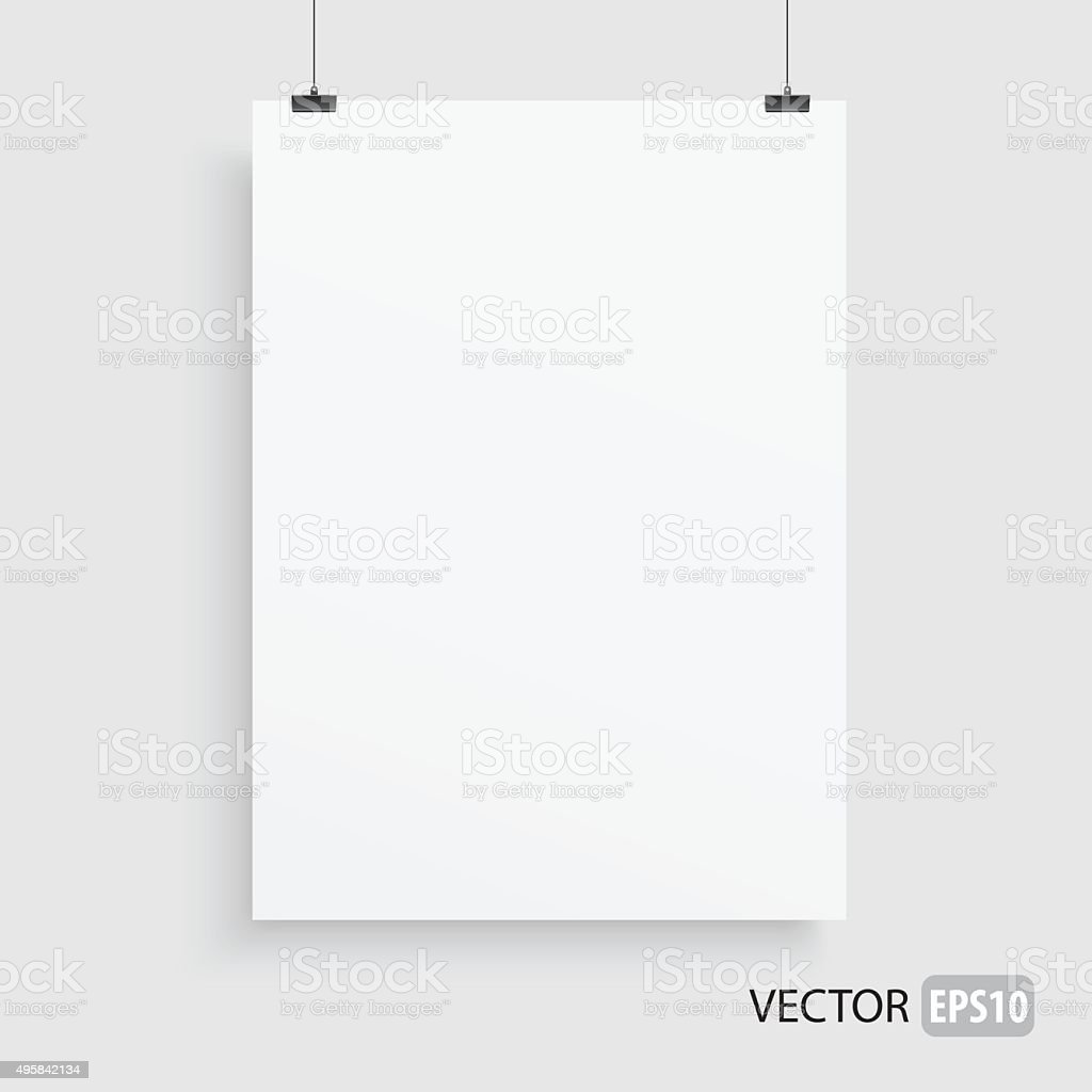 Rectangle white frame haning on two lines. vector art illustration