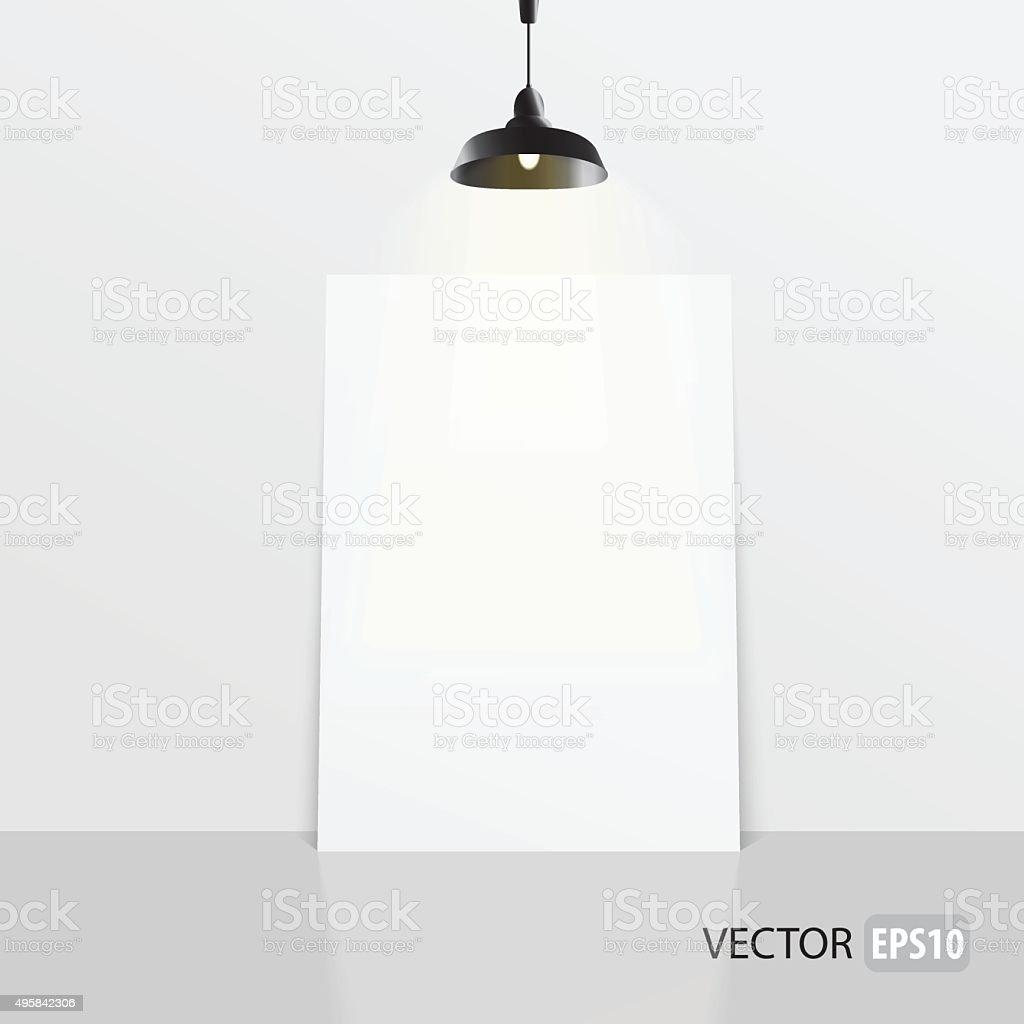 Rectangle white frame standing on the floor and lamp. vector art illustration