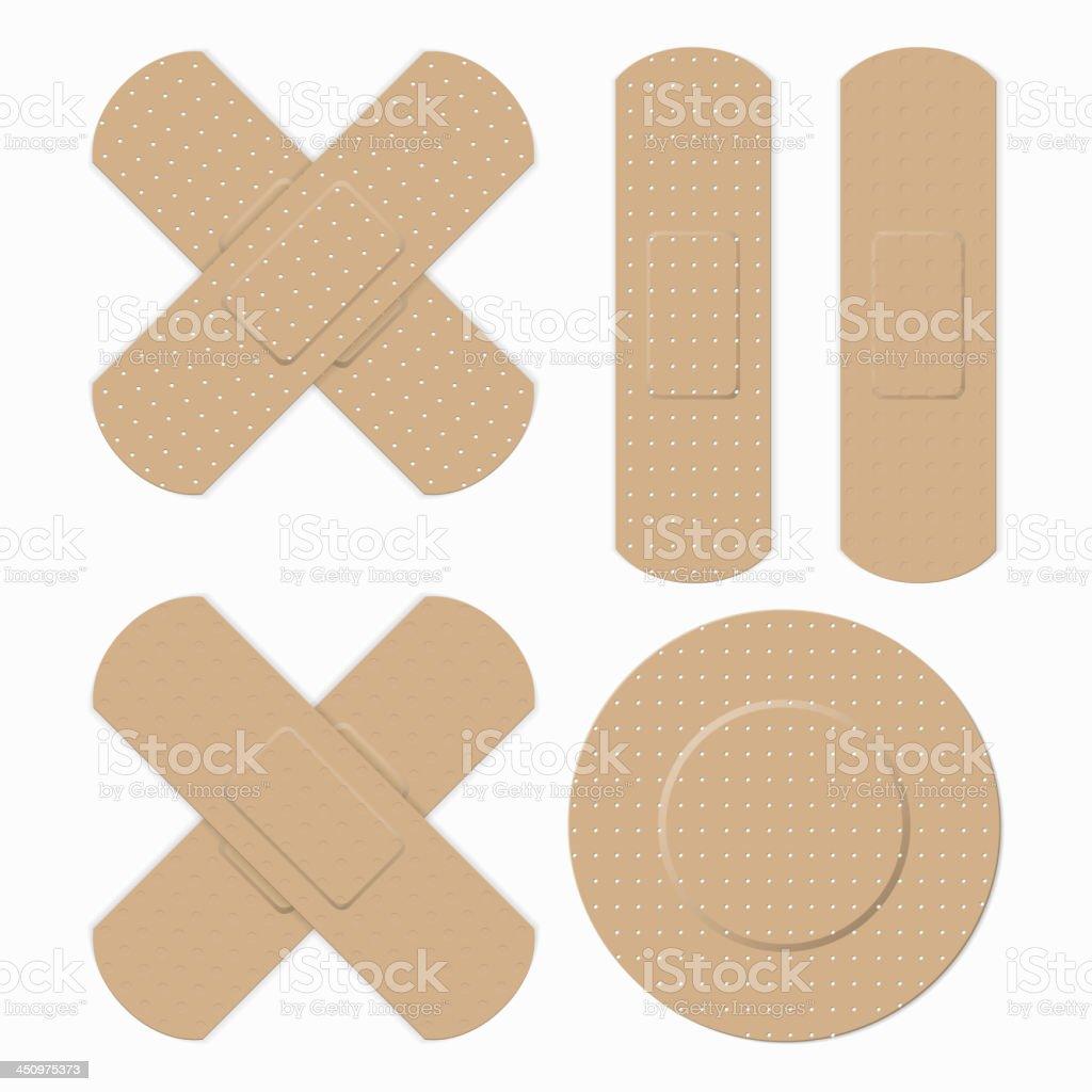 Rectangular and round plaster bands vector art illustration