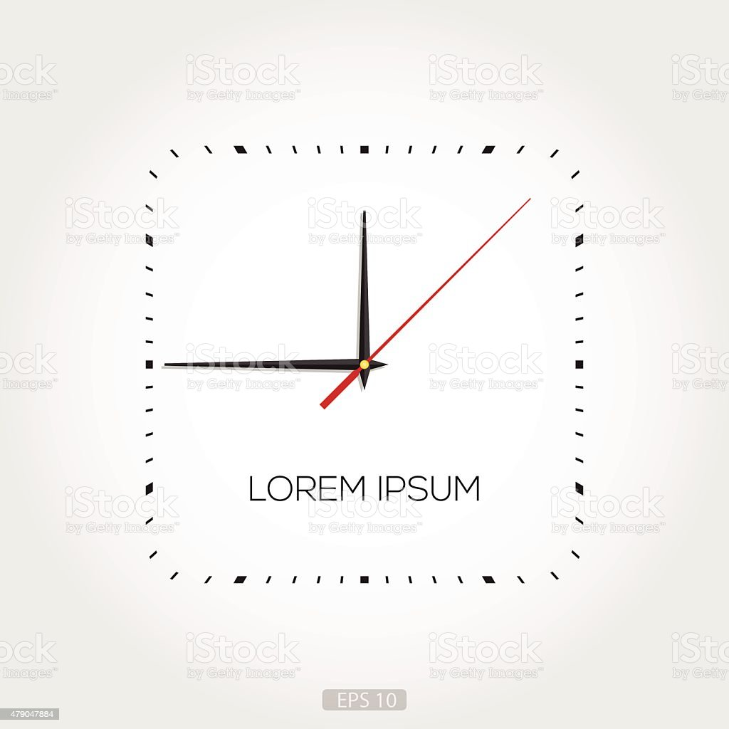 Rectangular Clock Face vector art illustration