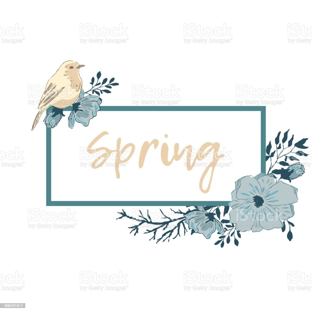 Rectangular label with text. Flowers and a bird in the corners. vector art illustration