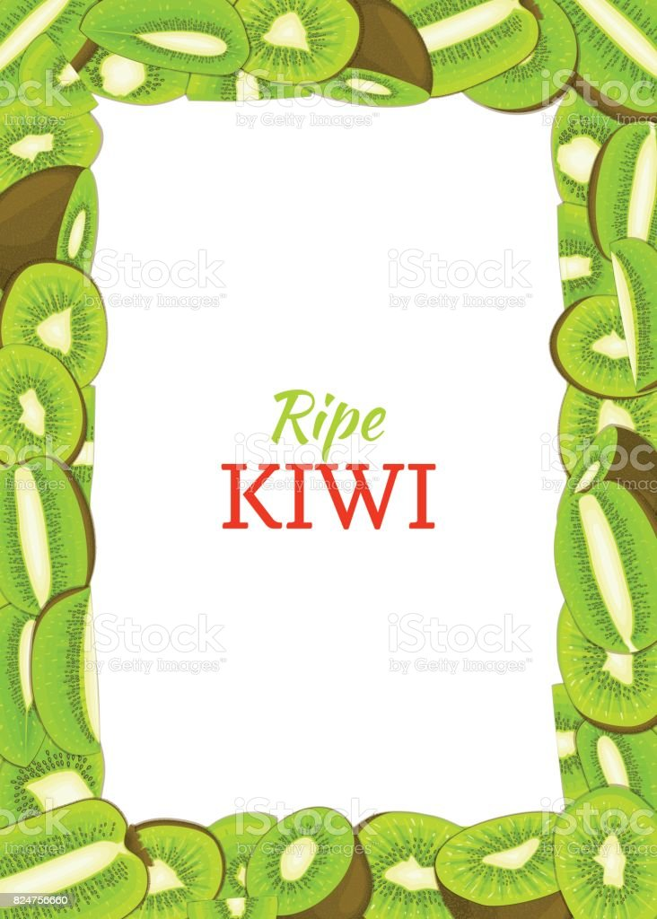 Rectangular vertical frame composed of delicious green kiwi fruit. Vector card illustration. Rectangle kiwifruit frame Ripe fresh fruits appetizing looking for packaging design of juice breakfast food vector art illustration