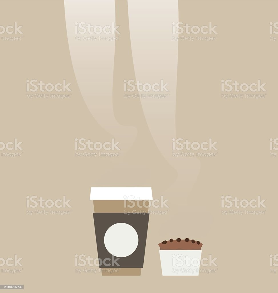 Recyclable coffee cup and a chocolate muffin. vector art illustration