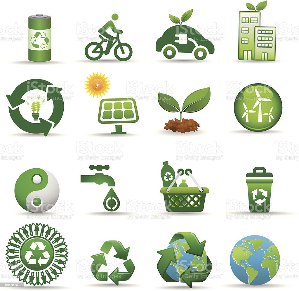 recycle and green energy icon set vector art illustration