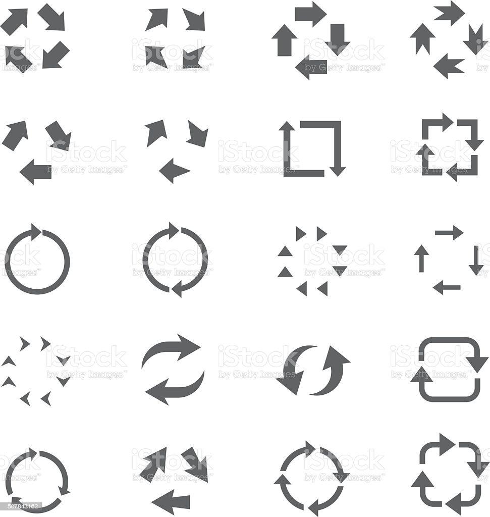 Recycle arrow icon set vector art illustration