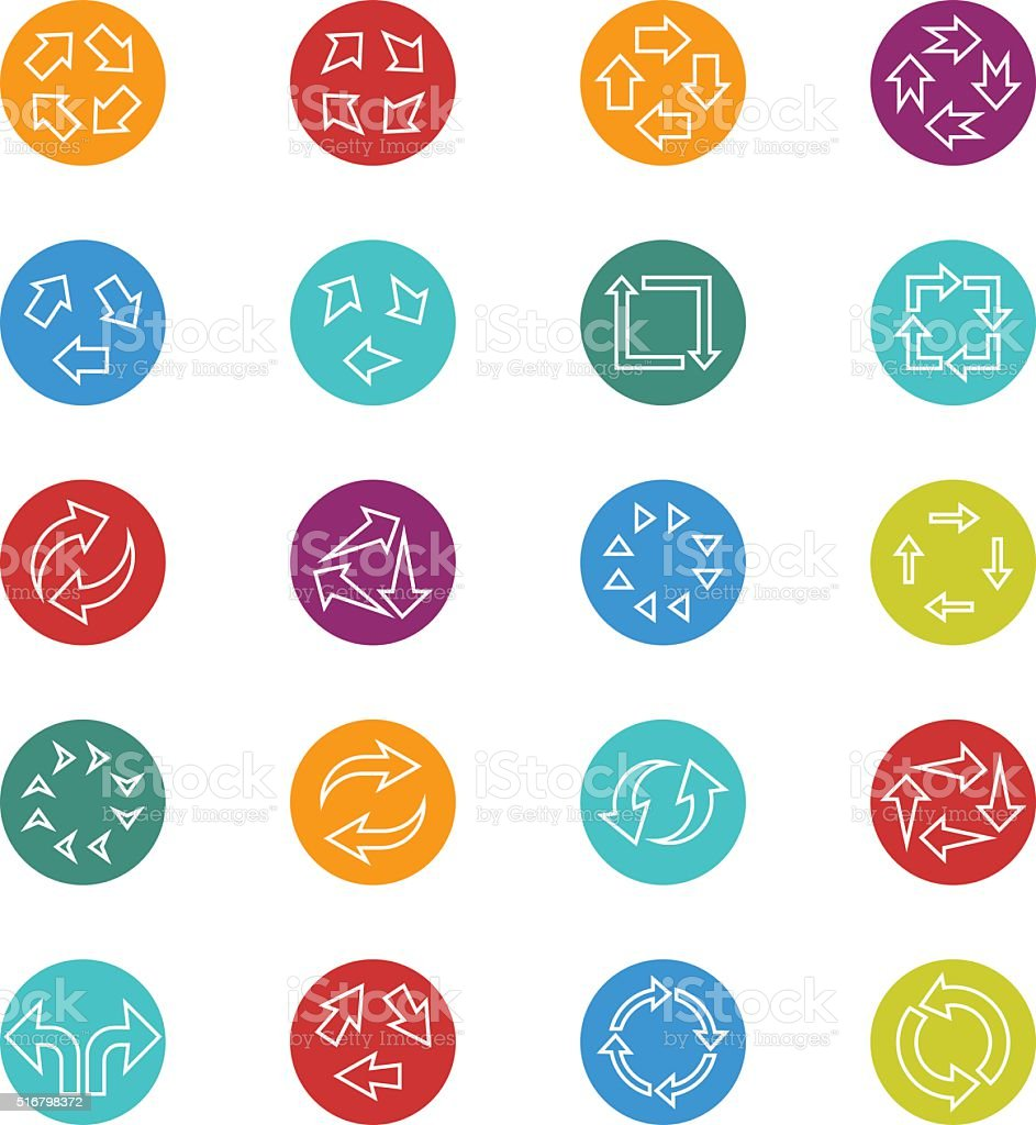 Recycle arrow icon set vector art illustration
