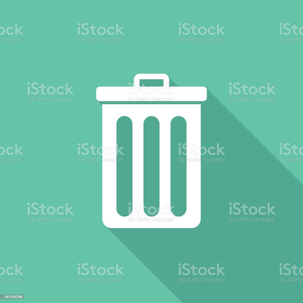 Recycle bin icon, modern minimal flat design style. Trash can vector art illustration