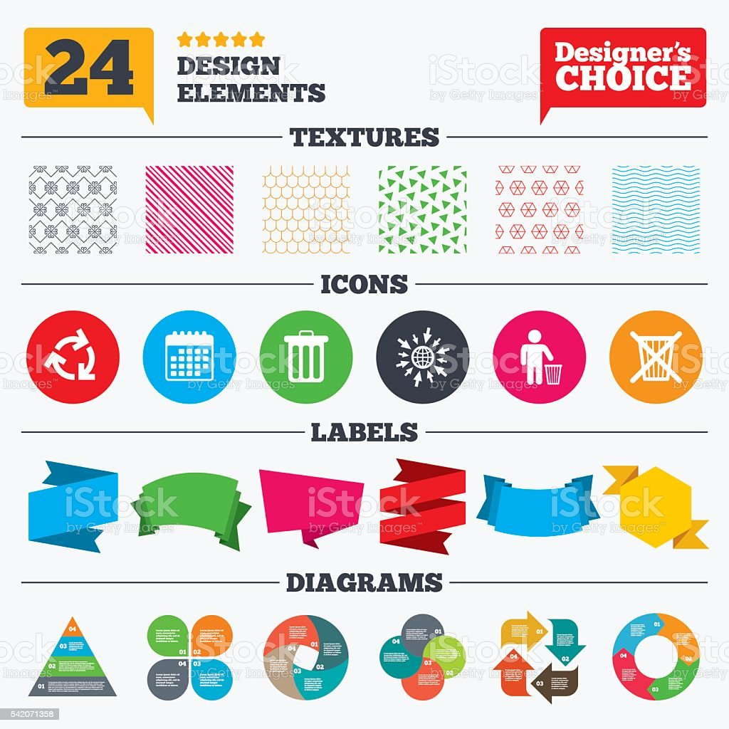Recycle bin icons. Reuse or reduce symbol. vector art illustration