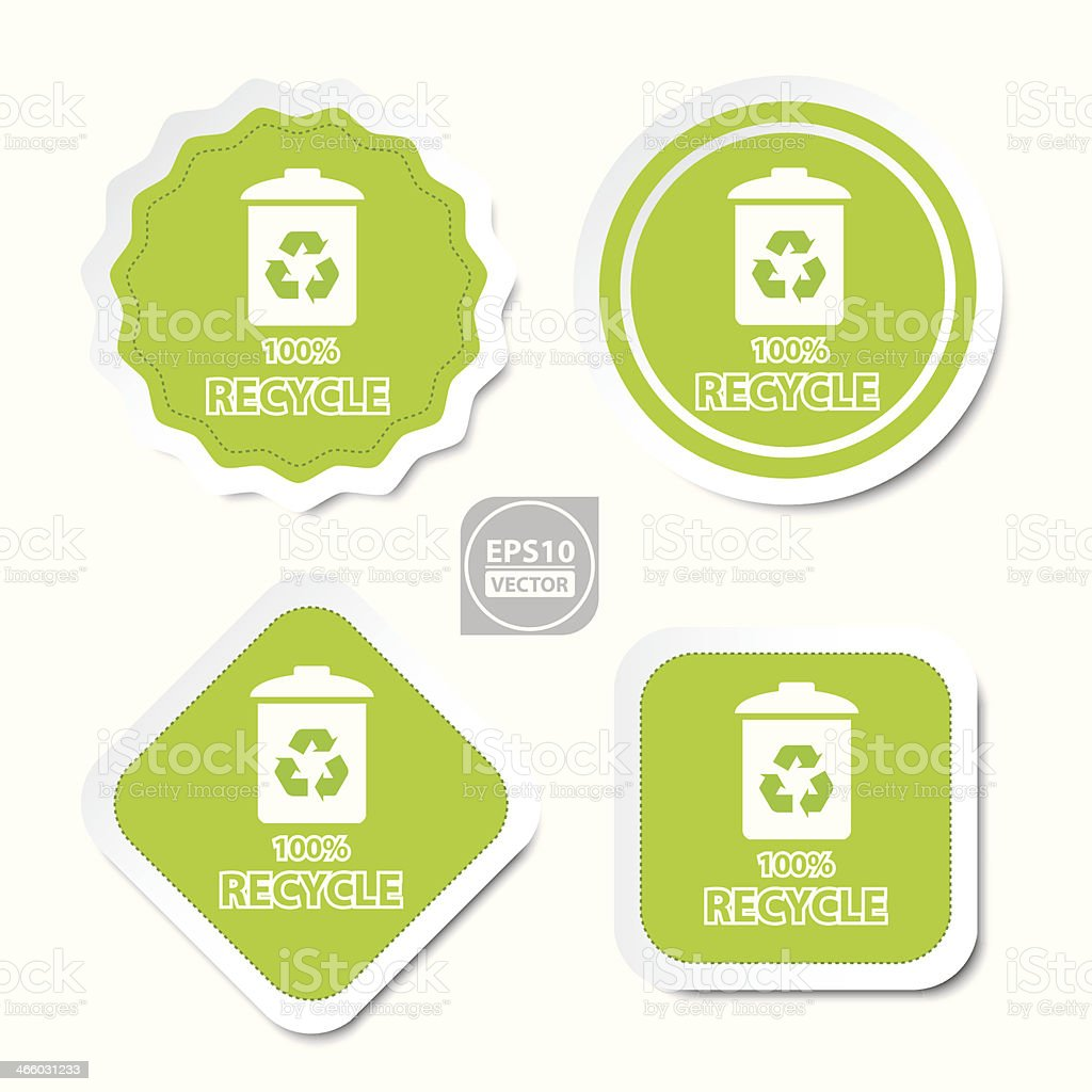 100% recycle bin stickers, icons, badge, signs or symbols. royalty-free stock vector art