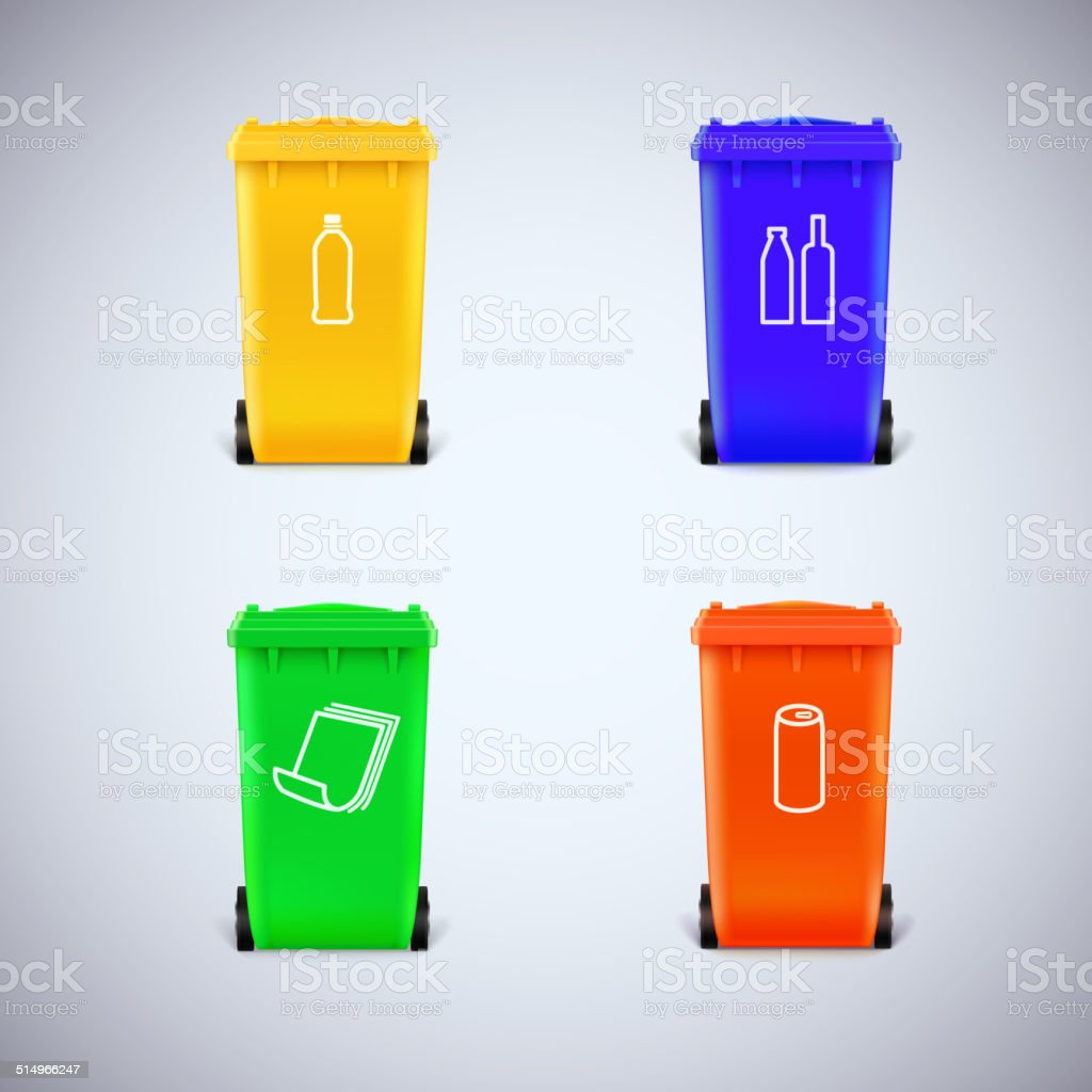Recycle bins with the symbols. vector art illustration