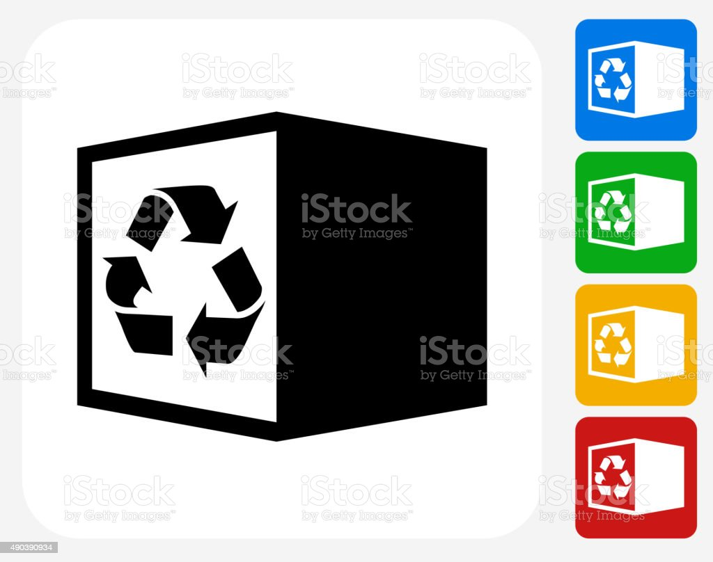 Recycle Box Icon Flat Graphic Design vector art illustration