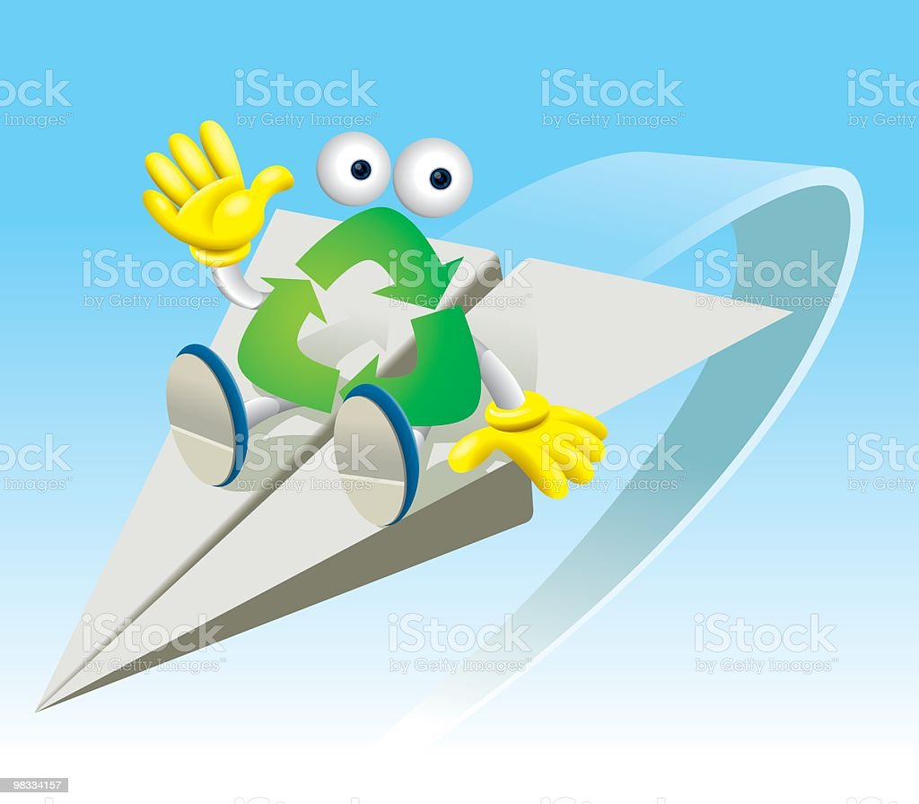 Recycle Boy and Paper Plane royalty-free stock vector art