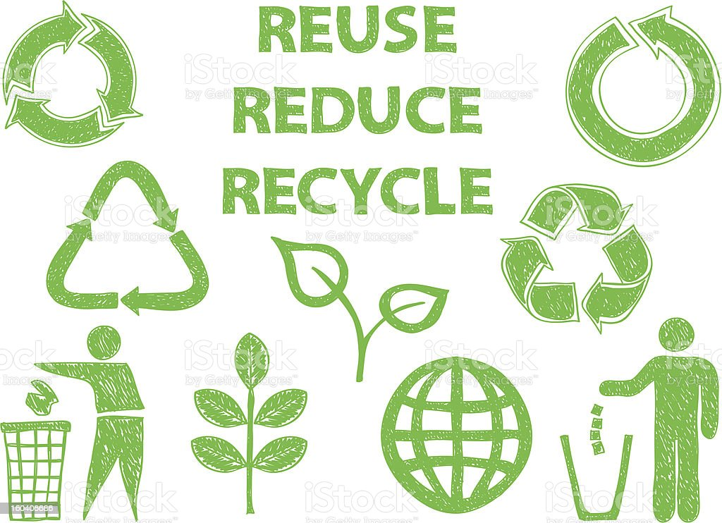 Recycle doodle icons royalty-free stock vector art